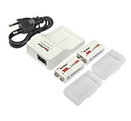Soshine Battery Charger for 9V Rechargeable Ni-MH Battery (2 Batteries + 1 Charger)