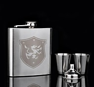 Personalized Gift 4 Piece 6oz Stainless Steel Suit  Fiery Dragon Flagon