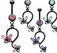 Sex Butterfly Crystal Dangle Navel Button Belly Ring Girl's Dancing Body Piercing Jewelry