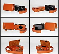 Dengpin PU Leather Camera Protective Case Bag Cover with Shoulder Strap for Casio Exilim ZR50 EX-ZR50