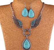 Lureme® EuropeStyle Fashion Wings Tophus Water Drop Pendant  Zinc Alloy Necklace Earrings Suit