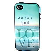 2-en-1 encontrado patrón del tpu mar amor de la contraportada con el tope pc caso a prueba de golpes suaves para Apple iPhone 4 / 4s