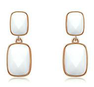 Roxi® Rose White Czech Retangle Shape Big Size Stud Earring