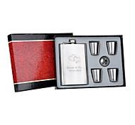 Regalo personalizado 6 pieza 9 oz de acero inoxidable conjunto petaca - corazón