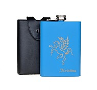 Personalized Gift Blue 8oz Stainless Steel Hip Flask - Horse