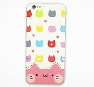 Cat Pattern PC Leather Back Cover Case for iPhone 6