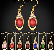 7 colors New Trendy 18K Gold Plated Rhinestone CZ Diamond Dangle Earrings Fashion Jewelry
