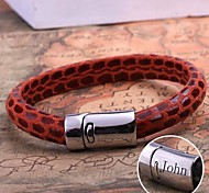 Personalized Gift  Leather Rope Bracelet Stainless Steel Engraved Jewelry