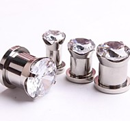 Fashion Stainless Steel Zircon Ear plugs Flesh tunnel Gauges Piercing Body Jewelry A Set Of 2 12mm