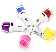 Dual USB Mini Rose Car Charger for iPhone and Samsung (Assorted Color)
