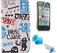 A Variety of Cartoon Design PU Leather Full Body Cover with Pig Stand and Protective Film for iPhone 4/4S