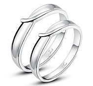 Personalized Gift Simple 925 Sterling Silver Couples Opening Rings