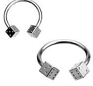 Stainless Steel Dice Horseshoe Nose Ring Piercing Body Jewelry 8mm 16Gauge