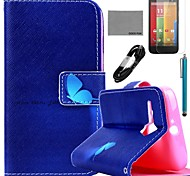 COCO FUN® Cross Necklace Pattern PU Leather Full Body Case with Film and USB Cable and Stylus for Motorala Moto G