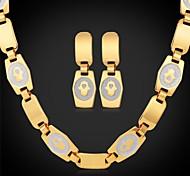 U7®Hamsa Hand Palms Chain Necklace Dangle Earrings 18K Real Gold Plated Choker Necklace Jewelry Set
