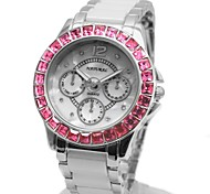 Woman's Ladies Round  Ceramic White Watchband Rose Pink Crystal Quartz Watch FW830R
