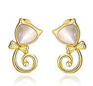 Mode opal schöne Katze golden vergoldeten Ohrstecker (goldenen) (1 Paar)