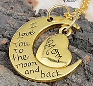 "runer® 2015 New Family ""I LOVE YOU TO THE MOON AND BACK "" Necklace Pendant long necklace Hot Selling Mom's Gifts"
