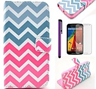Pink Wave Pattern PU Leather Case with Screen Protector and Stylus for Motorola Moto G2