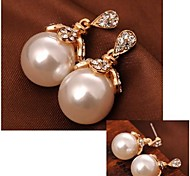 High-grade Shining Diamond Flowers Pearl Earrings