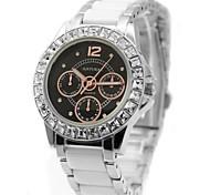 Woman Ladies Round Black Dial  Ceramic Watchband Water Resistant Quartz Watch FW830I