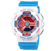 Unisex Fashion Colorful Design Dual Time Zones Rubber Band Wrist Watch (Assorted Colors)