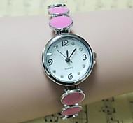 Frauen runden Zifferblatt-Legierung Band Quarz-Armbanduhr (farbig sortiert)