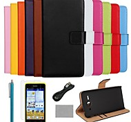 COCO FUN® Luxury Solid Color Genuine Leather Case with Film and Cable and Stylus for Huawei Y530(Assorted Colors)