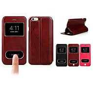 Luxury Double View Window Leather Flip Hard Back Cover Cases with Stand for iPhone 6 (Assorted Colors)
