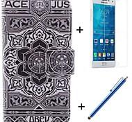 große schwarze Blumenmuster PU-Leder Ganzkörper-Fall mit Film und Kapazität Stift für Samsung-Galaxie a5 / A5000