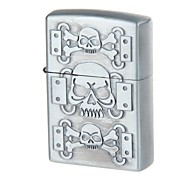 Pocket Vintage Skull Design Zinc Alloy Oil Lighter (Silvery Grey)