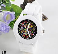 Female Flower Surface Jelly Silicone Watch Circular Fashion Chinese Movement watches(Assorted Colors)