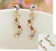 Colorful Diamond Flower Earrings