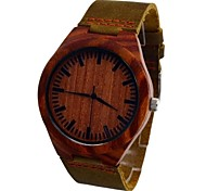 Men's Watch Pure RED Sandalwood Quartz Dress Watch Fashion Vogue Leisure Watch Cow Leather Band