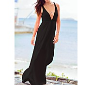Women's Fashion Sexy Solid Deep V Swimwear Swimsuit Bikini Beach wear Holiday Long dress