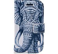 Elefanten-Muster PU Ledertasche mit Displayschutzfolie und Stift und Kabel für Samsung Galaxy S3 Mini i8190