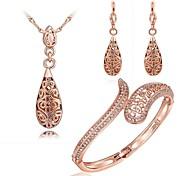 Rosa de 18 quilates chapado en oro collar pendientes pulsera conjunto