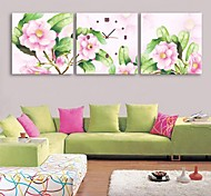 E-HOME® Pink Flowers  Clock in Canvas 3pcs