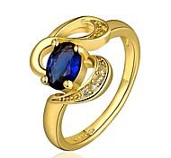 moda feminina de ouro anéis folheados a ouro zircão moda (ouro) (1pcs)