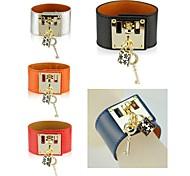 Women Genuine Leather Key Lock Bracelet Designer Wide Bangle Cuff Wristband