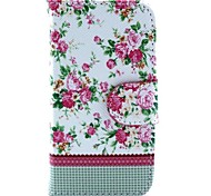 White Floral Pattern PU Leather Case and Mini Display Stand with Diamond Dust Plug for iPhone 4/4S