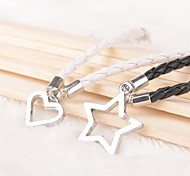 Z&X® Heart Star Black And White PU Leather Couple Bracelets  (1 pair)