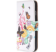 Butterfly and Circle Fashion Wallet Style Magnetic Flip PC+PU Leather Case for iPhone 6