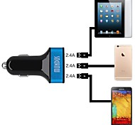 Mundus C700 3 USB Out Put Blue Led 7.2A Out Put Car Charger for Smartphone / GPS /MP3 / MP4/ and other(Silver/12V-24V)