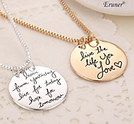 "Eruner® 2015 ""Learn From Yesterday,Live For Today, Hope For Tomorrow ""Box Chain Silver Pendant Necklace Women Men Gift"