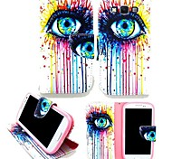 KARZEA™ Colorful Eyes PU Leather TPU Back Full Body Case Painting Card Holder Wallet Case for Samsung A3/A3000