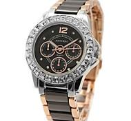 Woman's Ladies Round Ceramic Rose Gold Watchband Water Resistant Quartz Watch FW830N
