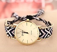 Women's Golden Case Chain Fabric Band Quartz Analog Bracelet Watch (Assorted Colors)