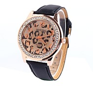 Women's Table Circular Diamond Leopard Leather Strap Watch China Movement Fashion Watch (Assorted Colors)