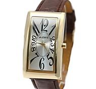 les hommes brun rectangulaire bracelet argent montre cadran de quartz imitation cuir